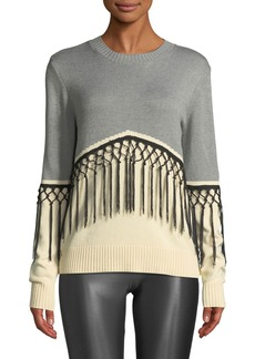 Neiman Marcus Fringe Colorblock Crewneck Sweater