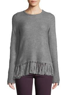Neiman Marcus Fringe-Hem Crewneck Sweater