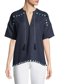 Neiman Marcus Fringe-Trim Linen Tunic