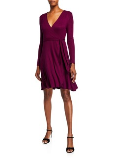 Neiman Marcus Gathered-Shoulder Wrap Dress
