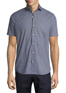 Neiman Marcus Geo-Print Sport Shirt  Navy