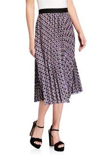 Neiman Marcus Geometric-Print Pleated Skirt