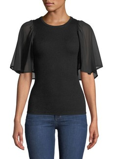 Neiman Marcus Georgette-Sleeve Ribbed Sweater