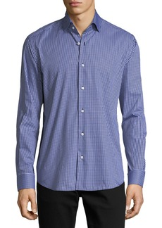 Neiman Marcus Gingham Long-Sleeve Sport Shirt  Light Blue