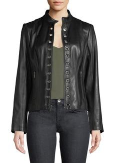 Neiman Marcus Grommet-Trim Lamb Leather Moto Jacket