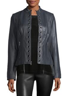 Neiman Marcus Grommet-Trim Leather Moto Jacket