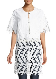 Neiman Marcus Half-Sleeve Lace Topper Jacket