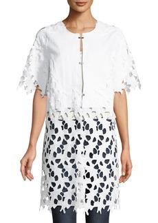 Neiman Marcus Half-Sleeve Lace Topper Jacket