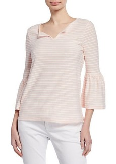 Neiman Marcus Hatchi Striped Bell-Sleeve Top