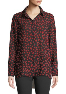 Neiman Marcus Heart Print High-Low Blouse