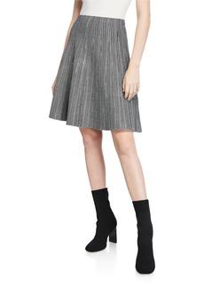 Neiman Marcus Herringbone Full-Flare Skirt