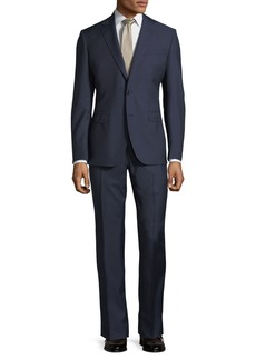 Neiman Marcus Herringbone Wool Two-Piece Suit  Navy