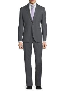 Neiman Marcus Herringbone Wool Two-Piece Suit  Gray