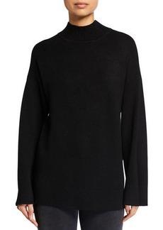 Neiman Marcus High-Low Mock-Neck Sweater