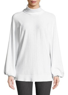 Neiman Marcus High-Neck Balloon-Sleeve Sweater