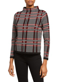 Neiman Marcus Houndstooth Mock-Neck Sweater