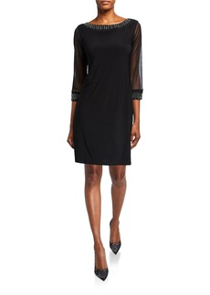 Neiman Marcus Interlock Knit Dress with Embellished Trim