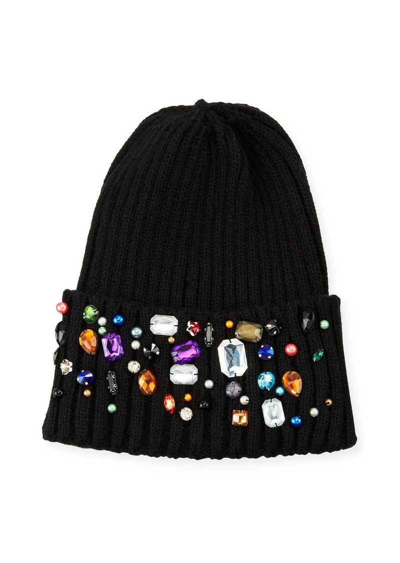 Neiman Marcus Jeweled Ribbed Knit Beanie