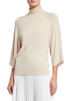 Neiman Marcus Kimono-Sleeve Turtleneck Top