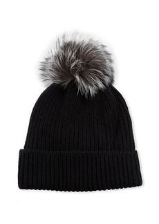 Neiman Marcus Knit Cashmere Beanie with Fur Pompom