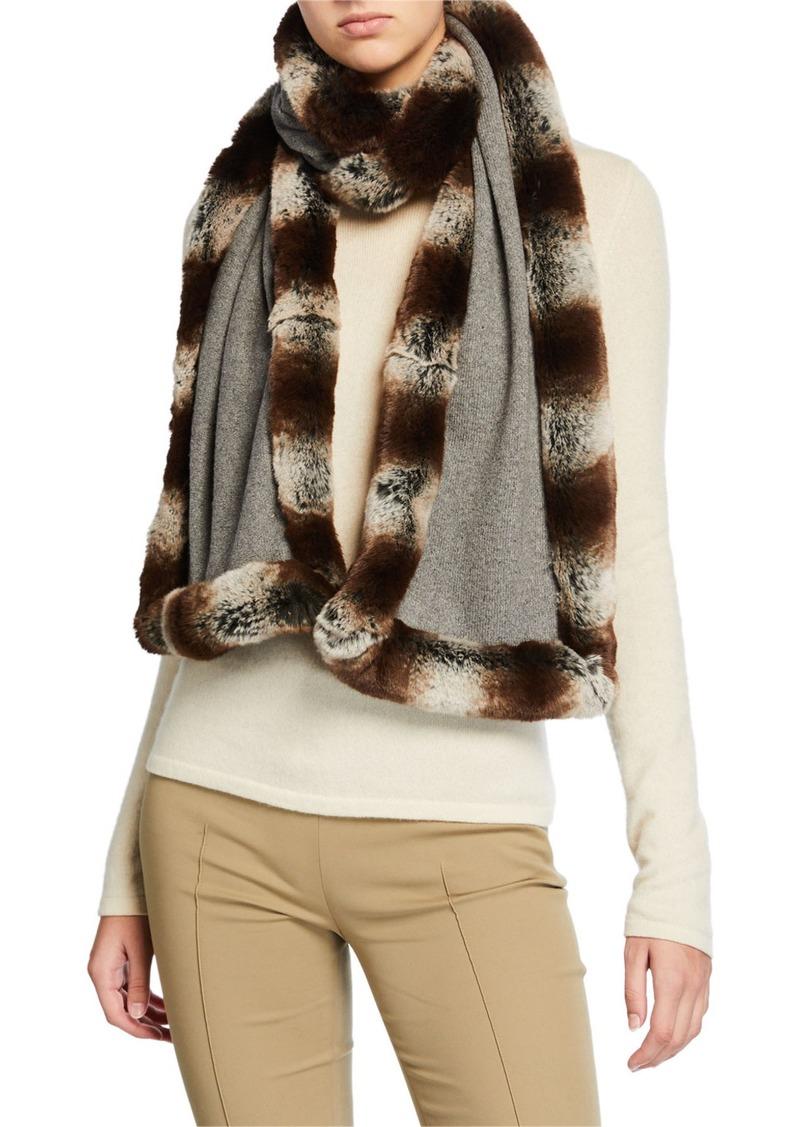Neiman Marcus Knit Scarf w/ Faux Fur Trim