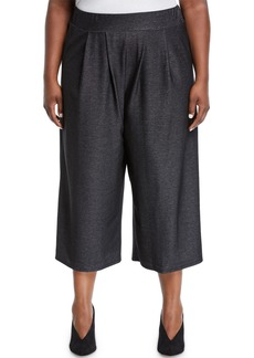 Neiman Marcus Kylie Stretch-Knit Denim Culottes