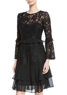 Neiman Marcus Lace & Chiffon Bell-Sleeve A-Line Dress