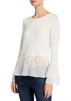Neiman Marcus Lace & Chiffon Bell-Sleeve Twofer Top