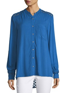 Neiman Marcus Lace-Inset Long-Sleeve Blouse