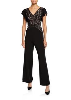Neiman Marcus Lace Lattice Jumpsuit