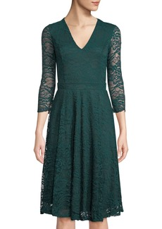 Neiman Marcus Lace Open-Back V-Neck Fit-&-Flare Dress  Emerald
