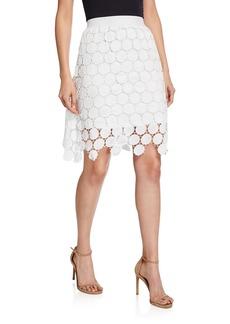 Neiman Marcus Lace Overlay Midi-Skirt