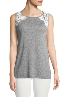 Neiman Marcus Lace-Shoulder Tank Top