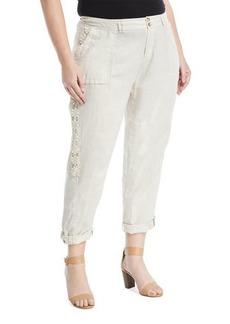 Lace-Side Linen Cargo Pants