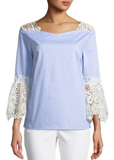 Neiman Marcus Lace-Trim  Cotton Blouse with Bell Sleeves