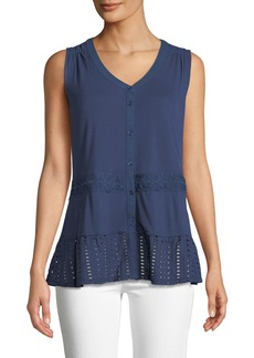 Neiman Marcus Lace-Trim Jersey Button-Front Blouse