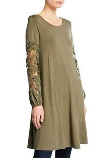 Neiman Marcus Lace-Trim Scoop-Neck Shift Dress