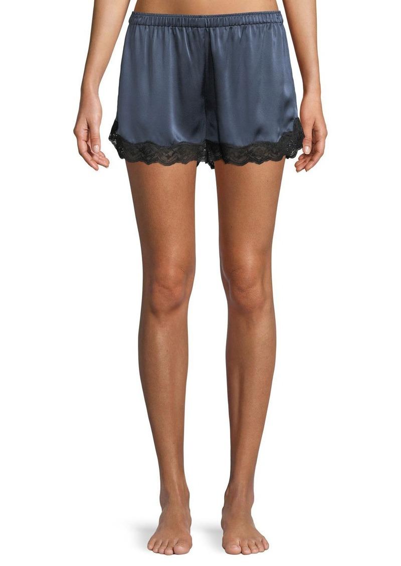 Neiman Marcus Lace-Trim Silk Lounge Shorts