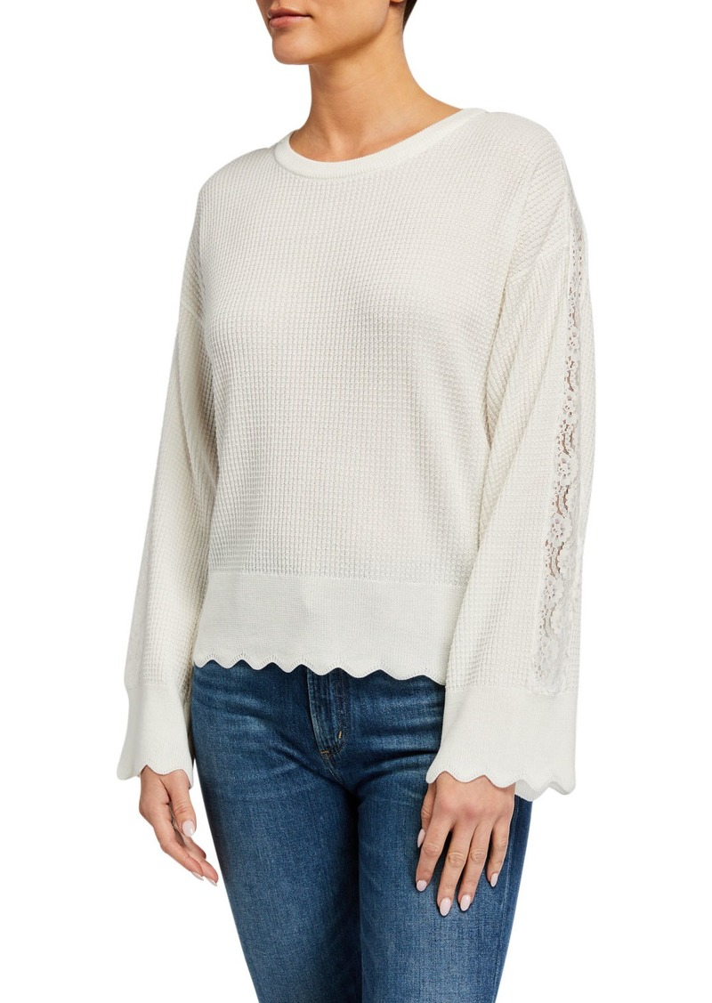Neiman Marcus Lace Trimmed Scallop-Hem Pullover Sweater