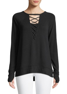 Neiman Marcus Lace-Up Front Sweatshirt