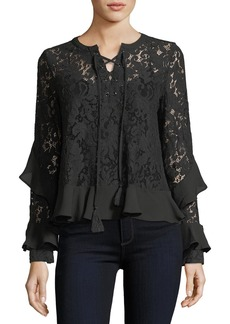 Neiman Marcus Lace-Up Lace Top