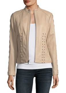 Neiman Marcus Lace-Up Leather Moto Jacket