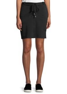 Neiman Marcus Lace-Up Mini Knit Skirt