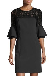Neiman Marcus Lace-Yoke Bell-Sleeve Sheath Dress