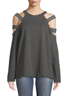 Neiman Marcus Ladder-Cutout Shoulder Sweatshirt
