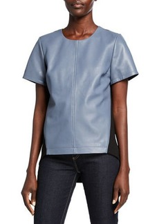 Neiman Marcus Lamb Leather & Ponte Back Top