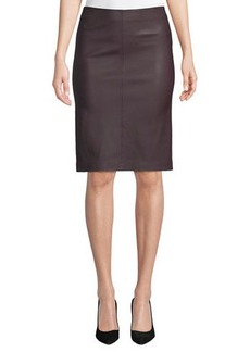 Neiman Marcus Lamb Leather & Ponte Pencil Skirt