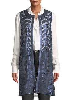 Neiman Marcus Lambskin Leather Leaf Vest