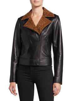 Neiman Marcus Lambskin Leather Moto Jacket with Leopard-Print Collar