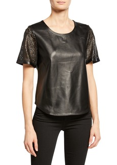 Neiman Marcus Laser-Cut Leather Tee